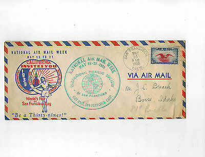 1938 World's Fair on S. F. C23 6c Low Flying Eagle Shifted Vignette on cover