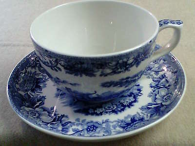 Large Spode Blue Room  Breakfast Cup and Saucer 'Aesops Fables'