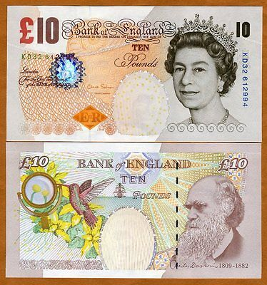 Great Britain, 10 pounds, 2000 (2012), P-389d, QEII, UNC   Darwin