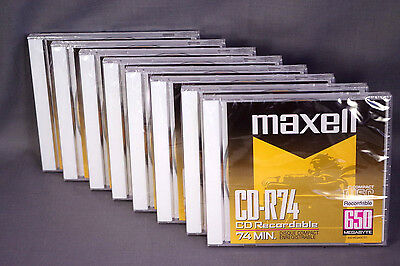 Lot EIGHT (8) Maxell CD-R74 Recordable CDs in Jewel Boxes, New Sealed Old Stock