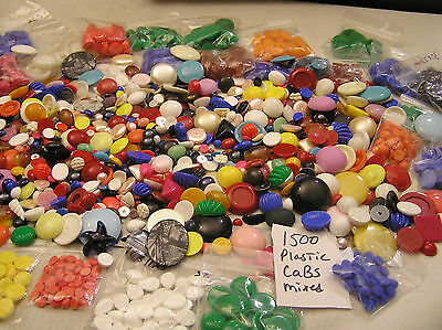 Huge Lot LBS 1500 Vtg Flatback Cabochon Jewelry Craft Repair Mix Plasitac Pounds