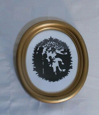 OVAL mini NATIVITY paper cutting Handcut SCHERENSCHNITTE gold framed