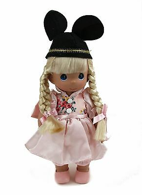 Disney Parks Precious Moments Mousekeeter Girl Blonde Easter Doll Pink Print