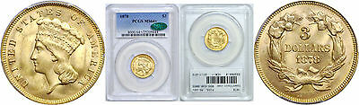 1878 $3 Gold Coin PCGS MS-64+ CAC