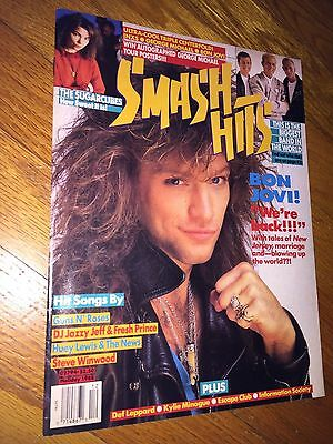 Smash Hits Magazine(Holiday 1988,Lyrics)Bon Jovi_Sugarcubes Bjork_INXS_Posters
