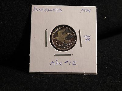 Barbados: 1974   10 Cents  Coin  Proof  Hc. Gem  (Unc.)    (#2535)  Km # 12