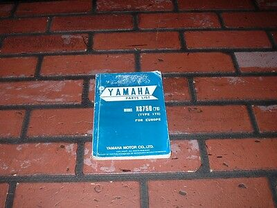 Genuine Yamaha Xs750 Illustrated Parts List / Parts Book. 1978. Type 1T5.