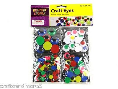 100 Coloured Joggle Googly Wiggly Eyes - 4 Sizes - Great For Crafts