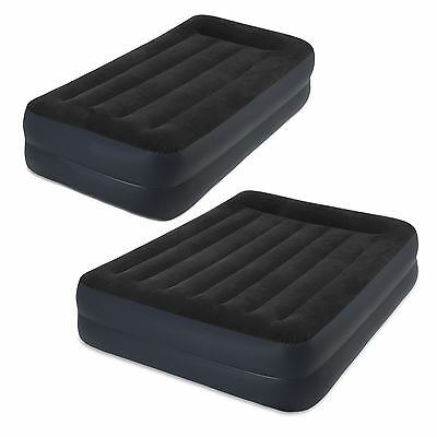 Intex Fibre-Tech Pillow Rest Raised Airbed + Built-in Pump Single or Queen Size