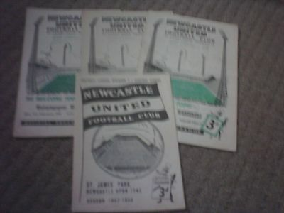 4 x Newcastle United Football Programmes 1950/60,s