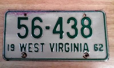 Vintage 1962 State of West Virginia License Plate Auto Car Tag  # 56.438