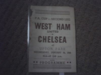 West Ham v Chelsea FA Cup Football Programme 30/1/1946.
