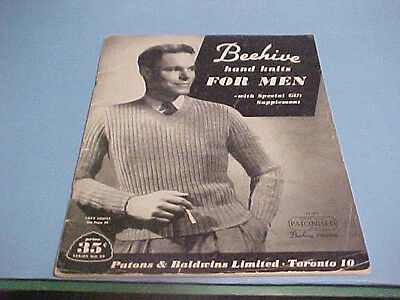 Vintage Beehive Hand Knits For Men Book With Special Gift Supplement