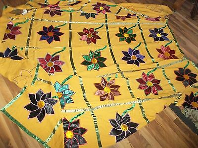 """Lrg Signed Vtg COLORFUL Applique Coverlet Bedspread - 88 1/2"""" x 100"""" Have to See"""