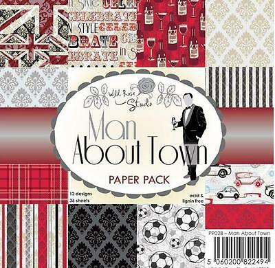 "New Wild Rose PAPER PACK SET 6 X 6"" MAN ABOUT TOWN 36 sheets free usa ship"