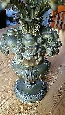 """Antique French bronze table lamp amazing details 5 arms 21"""""""