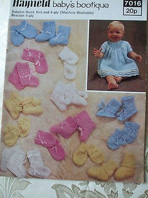 Vintage Knitting Pattern BABY'S DRESS,COAT SET, BOOTEES & MITTS Lots Designs