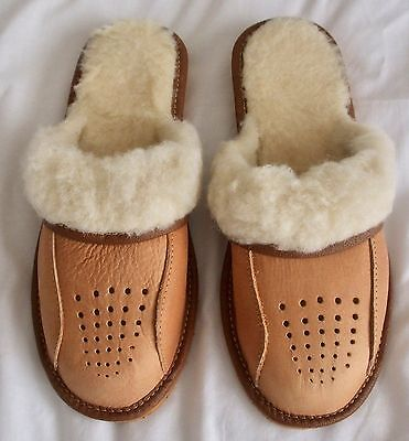 Ladies Tan Leather Mule Slippers with Fleece Lining - Size 7 BRAND NEW