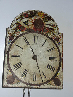ANTIQUE 19TH c FRENCH WALL CLOCK WEIGHT DRIVEN a/f
