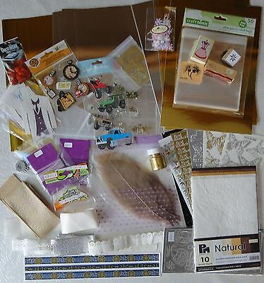 Job Lot:  Mirri Card/ Ribbon/ Toppers/ 6 Peel-Offs/ Stamps/ Glue  & More   G09
