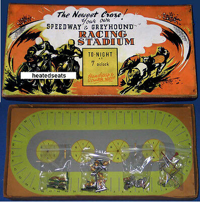SPEEDWAY & GREYHOUND  RACING STADIUM BOARD GAME 1920s UK _ Vintage GB