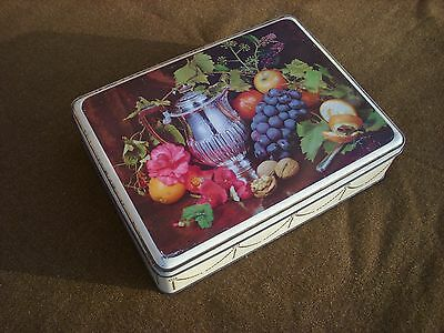 VINTAGE SCRIBBANS-KEMP PRODUCT BAKERIES BISCUIT TIN STILL LIFE c.1950's