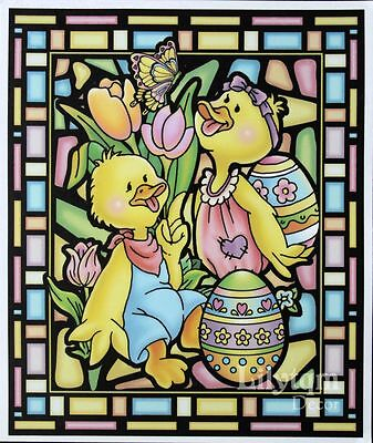 Vintage Easter Ducks Butterfly Egg Window Cling Sticker Shop Home Decor