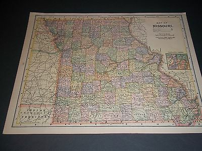 1900 MISSOURI Antique color state map original authentic