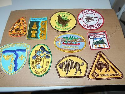 (Qg6-R) Ten Different Listed Manitoba Scout Badges    Canadian Scout Badges