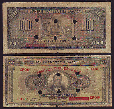 Greece 1000 Drachmai 04.11.1926 AKYΡON EN TRIKΚALON Overpr Canceled P#115(МД084)