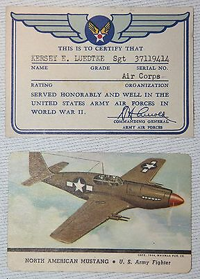 Named Wwii Aaf, Army Air Force Honorable Discharge Card, Document & More