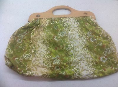 Vintage Knitting Bag With Wooden Handles