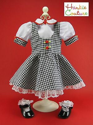 "Fits American Girl 18"" Black Gingham Hankie Couture Doll Dress Blouse Shoes Sock"