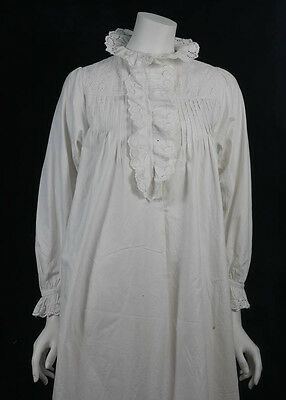 Antique Ladies White Nightgown Nighty Hand Stitched Broderie Anglaise (3827)