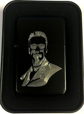 Terminator Arnold Schwarzenegger Black Engraved Cigarette Lighter LEN-0187