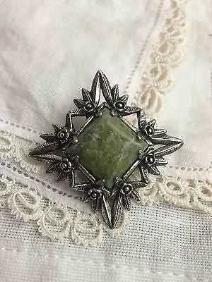 Lovely Vintage 1970s Miracle Pewter Green Marble Celtic Flower + Leaf Brooch