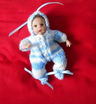 """Doll Clothes blue-white Hand knitted one-piece snowsuit for ooak 6"""" to 7.5in"""