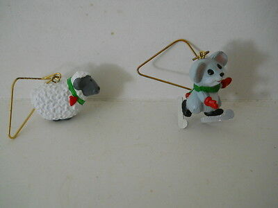 1989 Hallmark Miniature Ornaments Roly Poly Ram & Cozy Skater Mouse