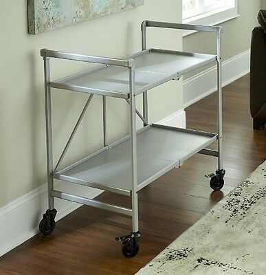 Cosco Indoor or Outdoor Folding, Metal, Rolling Serving Cart, Silver Very Sturdy