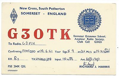 SOMERSET - SOUTH PETHERTON 1961 QSL Radio Confirmation Card G3OTK