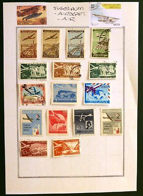 Selection of Used/mint hinged Aircraft Stamps from Jugoslavia. XS-1402.