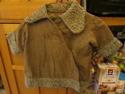 Vintage Child's Wool Coat with Faux Fur Trim (hand made?)