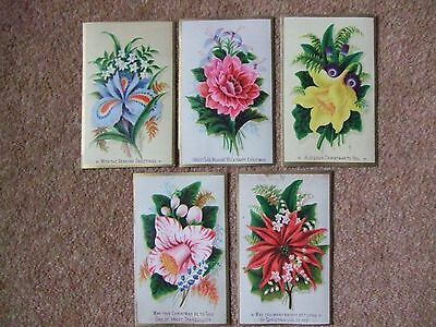 5 x VINTAGE Xmas Greeting Cards / Could Be Used For Gift Tags ?