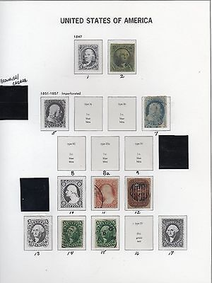 Old Classic Stamp Collection on Album Page (1847-1851 Issues)  6 Stamps