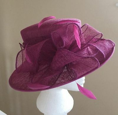 Fuchsia pink John Lewis bow and feather hat-wedding/occasion /races