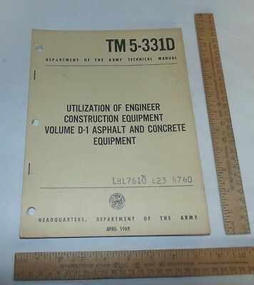 Utilization Of Engineer Construction Equipment - 1969 - Army Technical Manual
