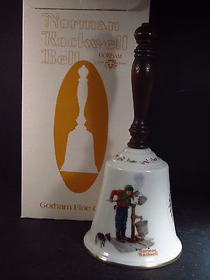 """Norman Rockwell Gorham 1977 CHILLING CHORE Bell With Wooden Handle MIB 9"""""""