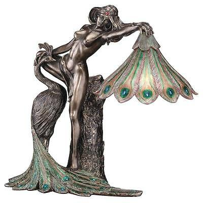 Feather Peacock Bird & Nude Female Lady Table Lamp Desk Light New