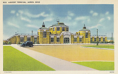 Airport Terminal AKRON Ohio USA 1930-45 Central News Company Postcard