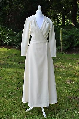 Handmade ivory long dress coat maxi vintage Edwardian 1910s 1930s S